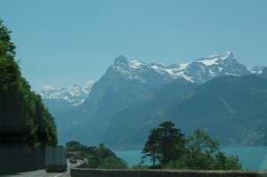Alps On Side Of Freeway