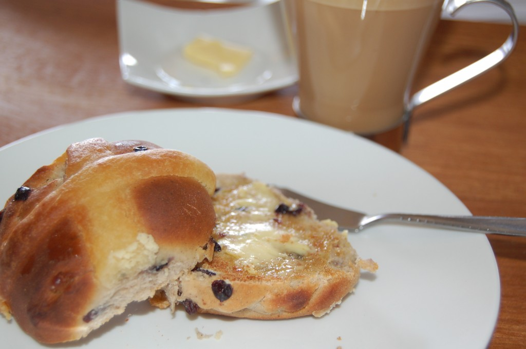 Buttered Hot Cross Bun