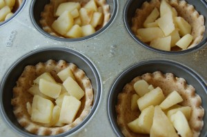 Tarts filled with apple