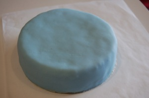 Top Tier Covered In Blue Fondant